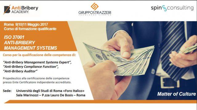 """A Roma il primo corso al mondo qualificante delle """"Professioni Anti-Bribery"""" basato sulla ISO37001"""