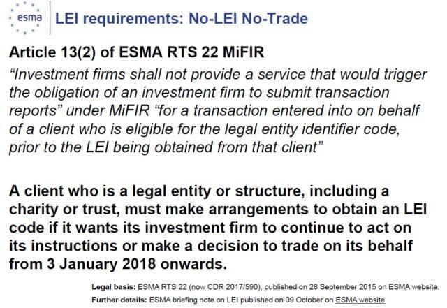 Articoli requisiti codice LEI